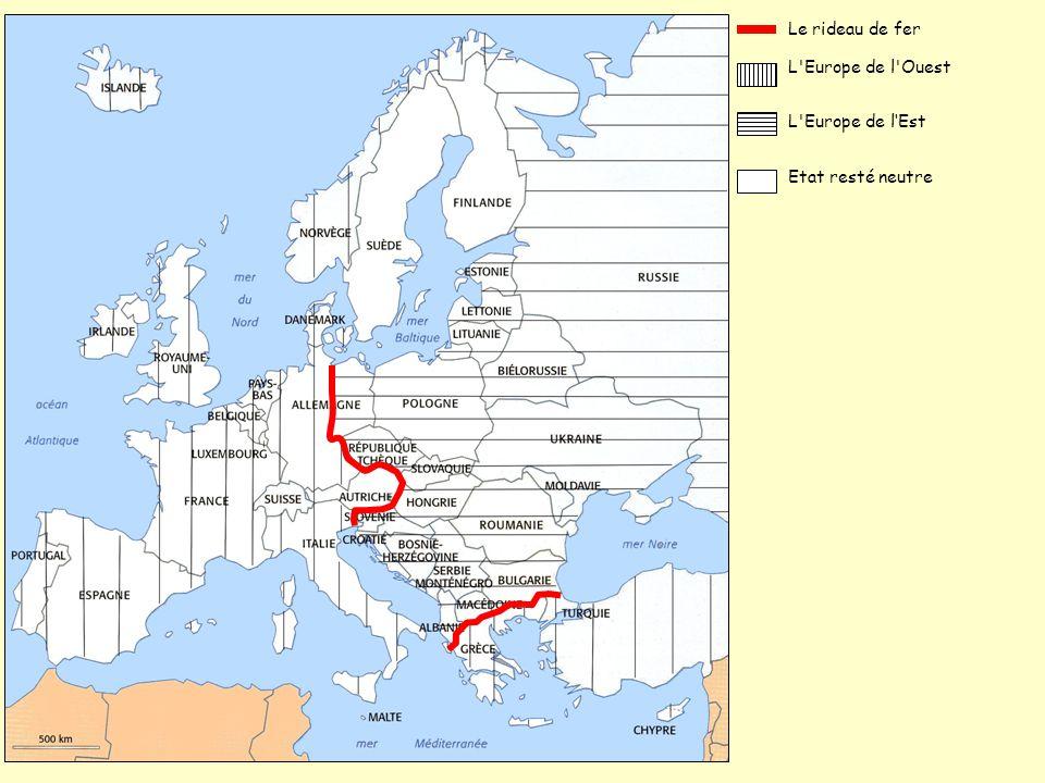 L'Europe de l'Ouest Le rideau de fer L'Europe de l'Est Etat resté neutre