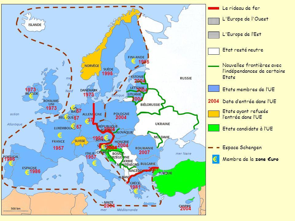 L'Europe de l'Ouest Le rideau de fer L'Europe de l'Est Etat resté neutre Nouvelles frontières avec l'indépendances de certains Etats € Membre de la zo
