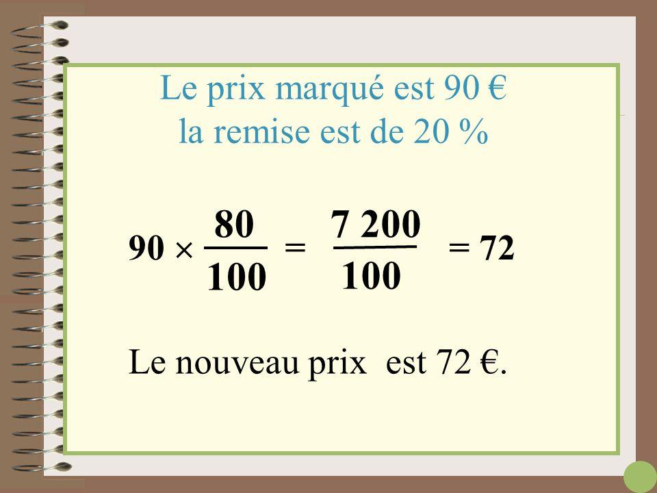 100 % - 20 % = 80 % Le prix marqué est 90 € la remise est de 20 % Prix marqué Remise Nouveau prix