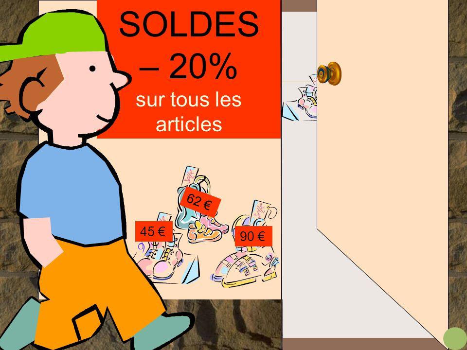 .. SOLDES – 10% – 25% – 40% Si j' pouvais me trouver une belle paire de chaussures de ski il me reste 74 € ça va peut-être suffire !