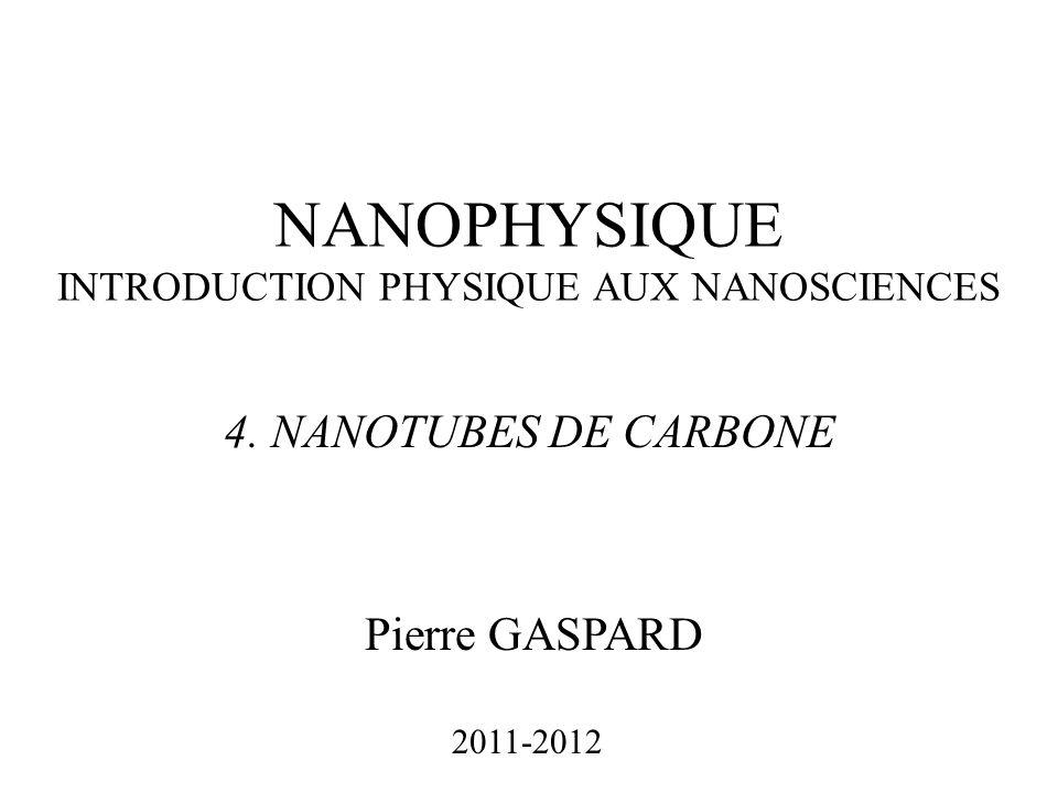 NANOPHYSIQUE INTRODUCTION PHYSIQUE AUX NANOSCIENCES Pierre GASPARD 2011-2012 4. NANOTUBES DE CARBONE