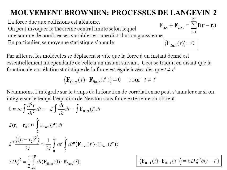 MOUVEMENT BROWNIEN: PROCESSUS DE LANGEVIN 2 001 011101 111 Par ailleurs, les molécules se déplacent si vite que la force à un instant donné est essent
