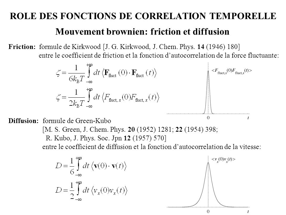 ROLE DES FONCTIONS DE CORRELATION TEMPORELLE 001 011101 111 Friction: formule de Kirkwood [J. G. Kirkwood, J. Chem. Phys. 14 (1946) 180] entre le coef