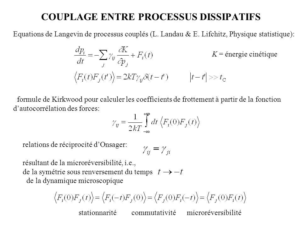 COUPLAGE ENTRE PROCESSUS DISSIPATIFS 001 011101 111 Equations de Langevin de processus couplés (L. Landau & E. Lifchitz, Physique statistique): relati