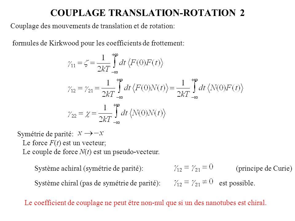 COUPLAGE TRANSLATION-ROTATION 2 001 011101 111 Couplage des mouvements de translation et de rotation: formules de Kirkwood pour les coefficients de fr