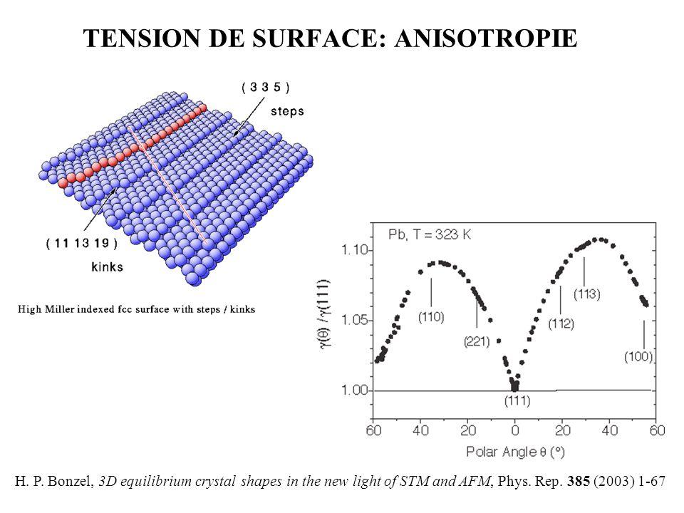 TENSION DE SURFACE: ANISOTROPIE H.P.