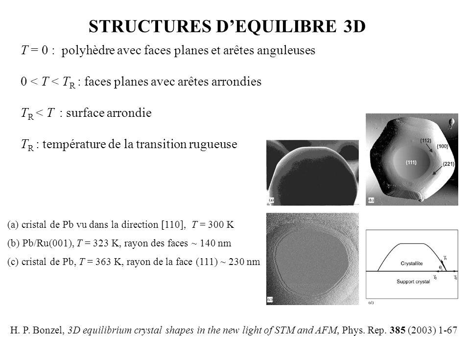 STRUCTURES D'EQUILIBRE 3D T = 0 : polyhèdre avec faces planes et arêtes anguleuses 0 < T < T R : faces planes avec arêtes arrondies T R < T : surface