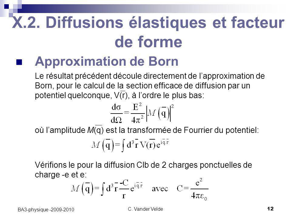 C. Vander Velde12 BA3-physique -2009-2010 X.2. Diffusions élastiques et facteur de forme Approximation de Born Le résultat précédent découle directeme
