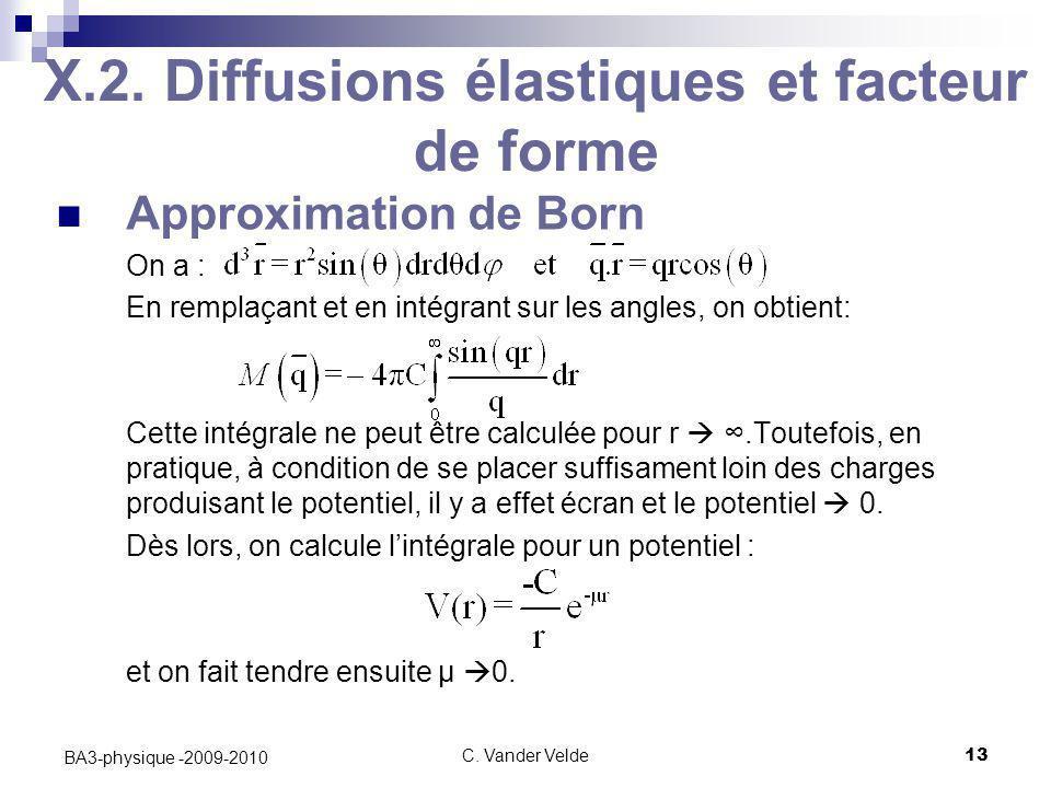 C. Vander Velde13 BA3-physique -2009-2010 X.2. Diffusions élastiques et facteur de forme Approximation de Born On a : En remplaçant et en intégrant su
