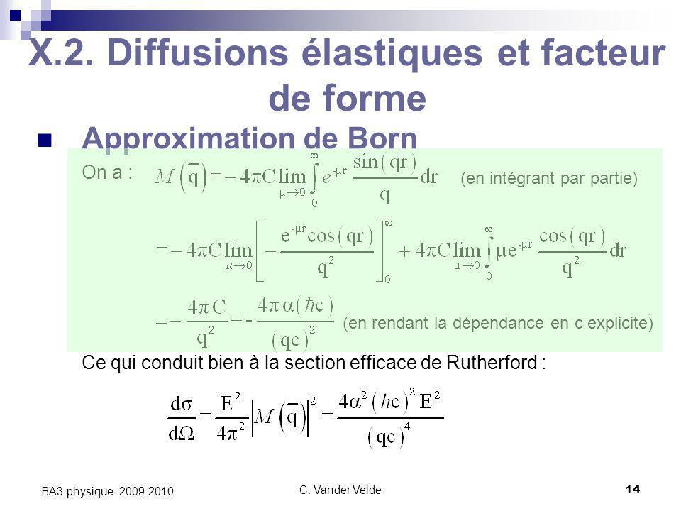 C. Vander Velde14 BA3-physique -2009-2010 X.2. Diffusions élastiques et facteur de forme Approximation de Born On a : Ce qui conduit bien à la section
