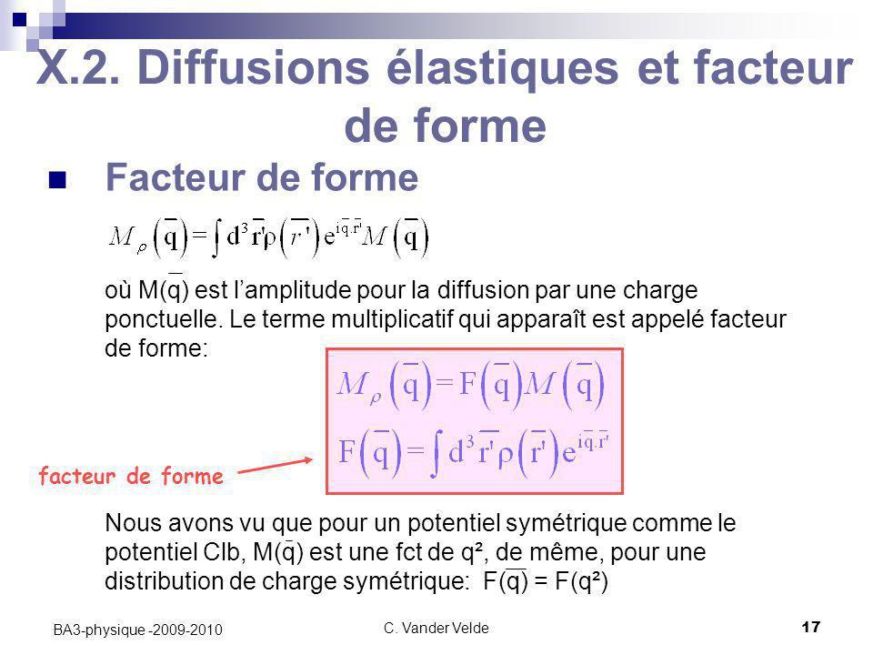C. Vander Velde17 BA3-physique -2009-2010 X.2. Diffusions élastiques et facteur de forme Facteur de forme où M(q) est l'amplitude pour la diffusion pa