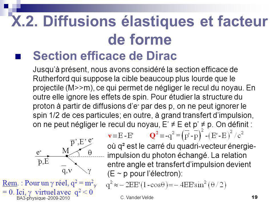C. Vander Velde19 BA3-physique -2009-2010 X.2. Diffusions élastiques et facteur de forme Section efficace de Dirac Jusqu'à présent, nous avons considé