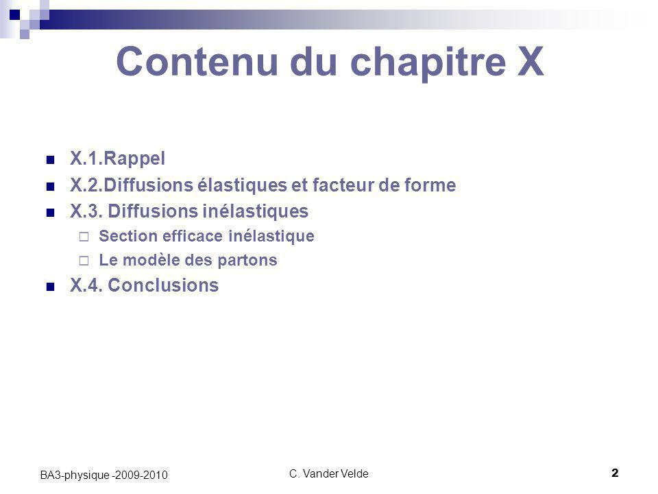 C. Vander Velde2 BA3-physique -2009-2010 Contenu du chapitre X X.1.Rappel X.2.Diffusions élastiques et facteur de forme X.3. Diffusions inélastiques 
