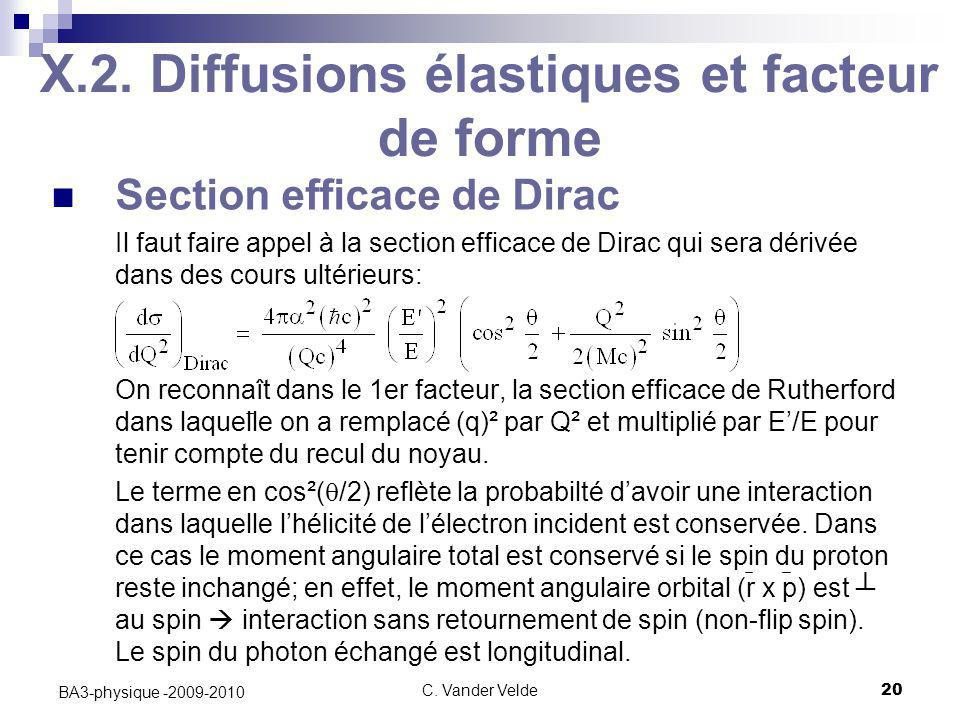 C. Vander Velde20 BA3-physique -2009-2010 X.2. Diffusions élastiques et facteur de forme Section efficace de Dirac Il faut faire appel à la section ef