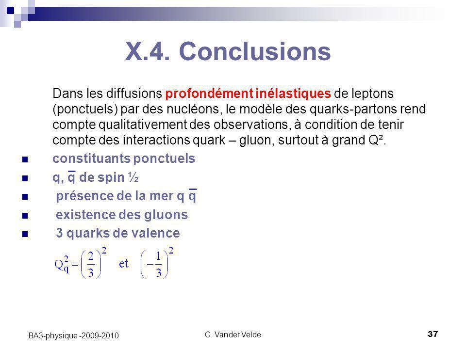 C. Vander Velde37 BA3-physique -2009-2010 Dans les diffusions profondément inélastiques de leptons (ponctuels) par des nucléons, le modèle des quarks-