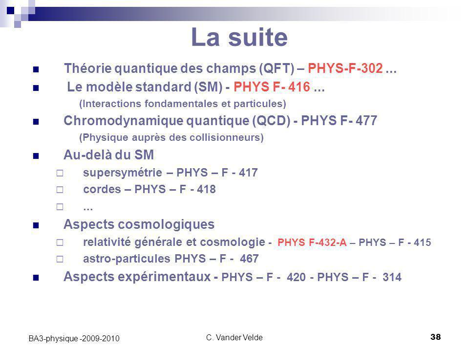 C. Vander Velde38 BA3-physique -2009-2010 Théorie quantique des champs (QFT) – PHYS-F-302... Le modèle standard (SM) - PHYS F- 416... (Interactions fo