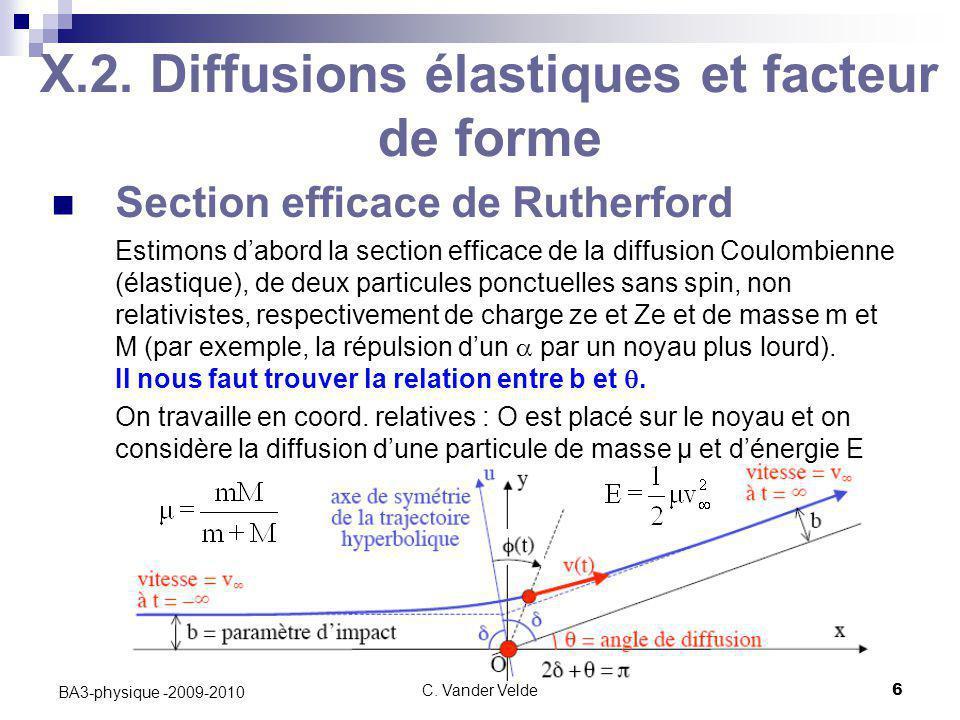 C. Vander Velde6 BA3-physique -2009-2010 X.2. Diffusions élastiques et facteur de forme Section efficace de Rutherford Estimons d'abord la section eff