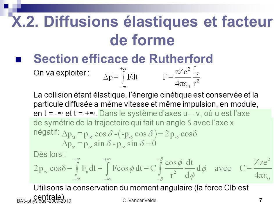C. Vander Velde7 BA3-physique -2009-2010 X.2. Diffusions élastiques et facteur de forme Section efficace de Rutherford On va exploiter : La collision