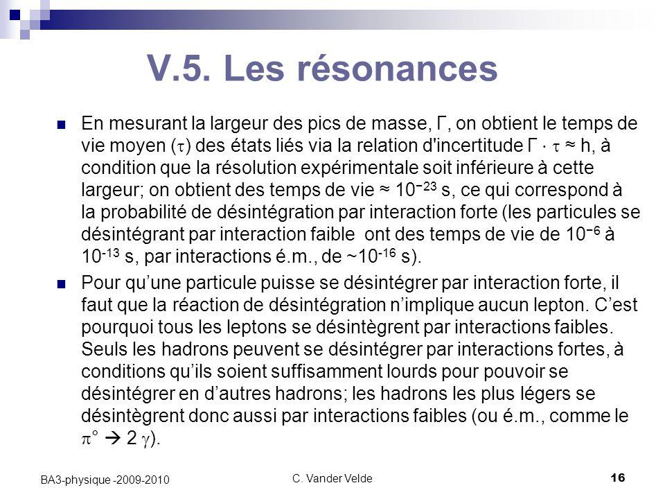 C. Vander Velde16 BA3-physique -2009-2010 V.5. Les résonances En mesurant la largeur des pics de masse, Γ, on obtient le temps de vie moyen (  ) des