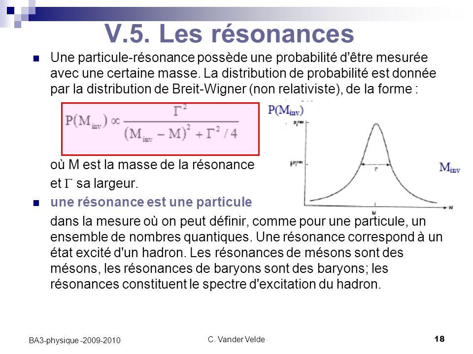 C. Vander Velde18 BA3-physique -2009-2010 V.5. Les résonances Une particule-résonance possède une probabilité d'être mesurée avec une certaine masse.