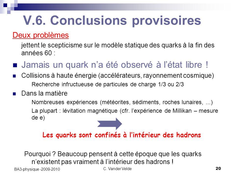 C. Vander Velde20 BA3-physique -2009-2010 V.6. Conclusions provisoires Deux problèmes jettent le scepticisme sur le modèle statique des quarks à la fi