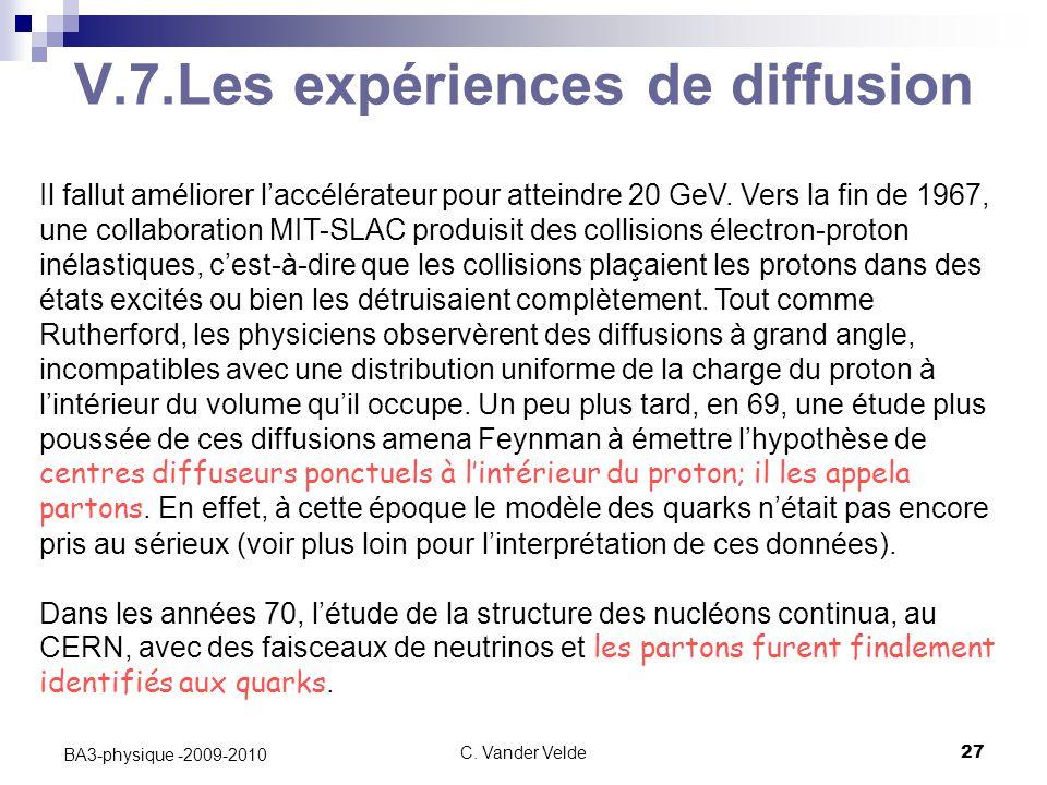 C. Vander Velde27 BA3-physique -2009-2010 V.7.Les expériences de diffusion Il fallut améliorer l'accélérateur pour atteindre 20 GeV. Vers la fin de 19