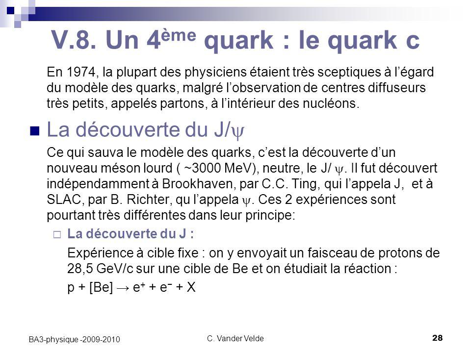 C. Vander Velde28 BA3-physique -2009-2010 V.8. Un 4 ème quark : le quark c En 1974, la plupart des physiciens étaient très sceptiques à l'égard du mod