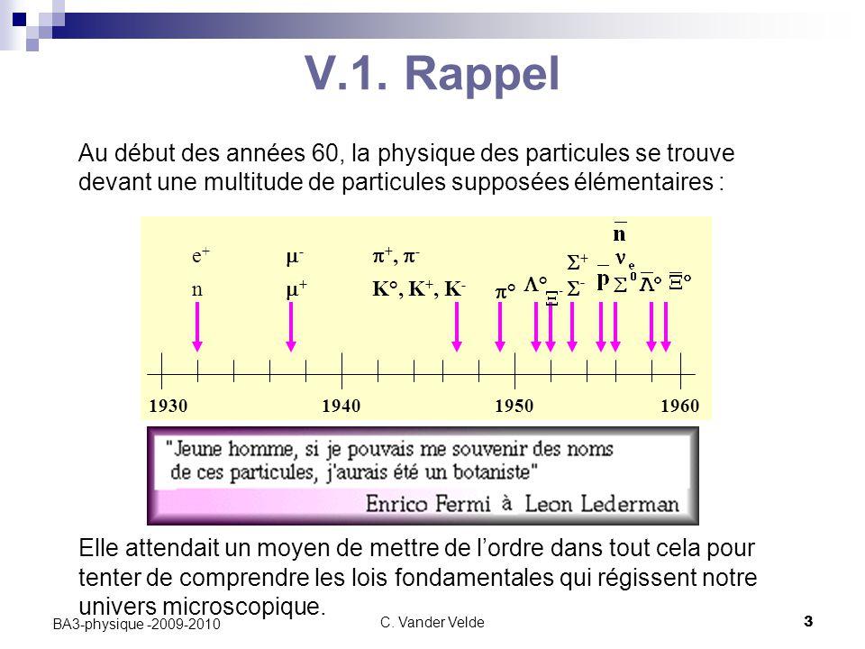 C. Vander Velde3 BA3-physique -2009-2010 V.1. Rappel Au début des années 60, la physique des particules se trouve devant une multitude de particules s