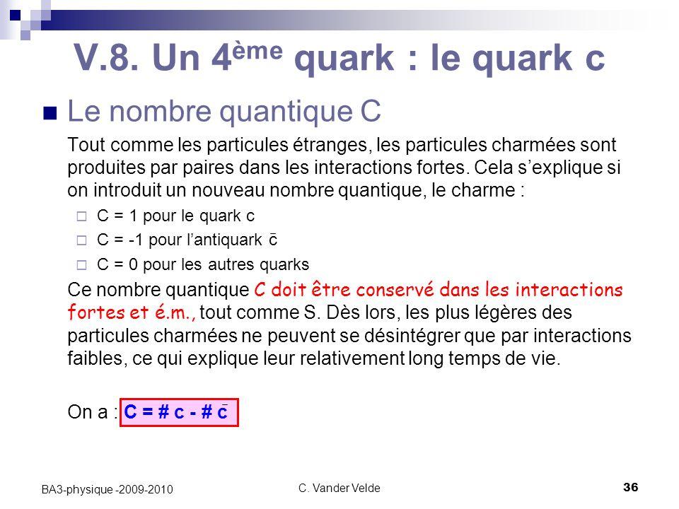 C. Vander Velde36 BA3-physique -2009-2010 V.8. Un 4 ème quark : le quark c Le nombre quantique C Tout comme les particules étranges, les particules ch