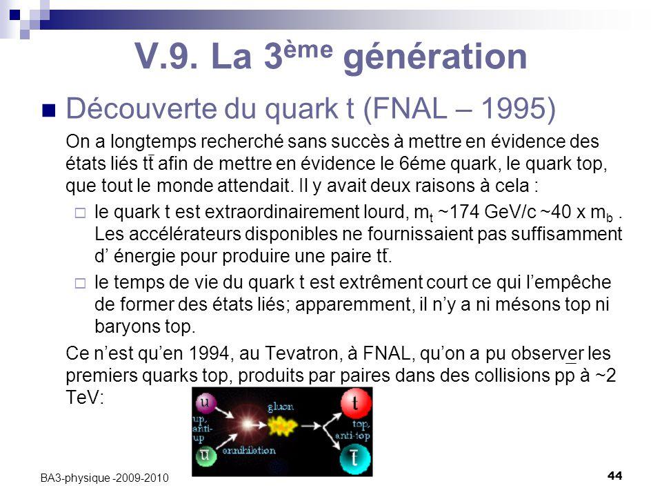 C. Vander Velde44 BA3-physique -2009-2010 V.9. La 3 ème génération Découverte du quark t (FNAL – 1995) On a longtemps recherché sans succès à mettre e