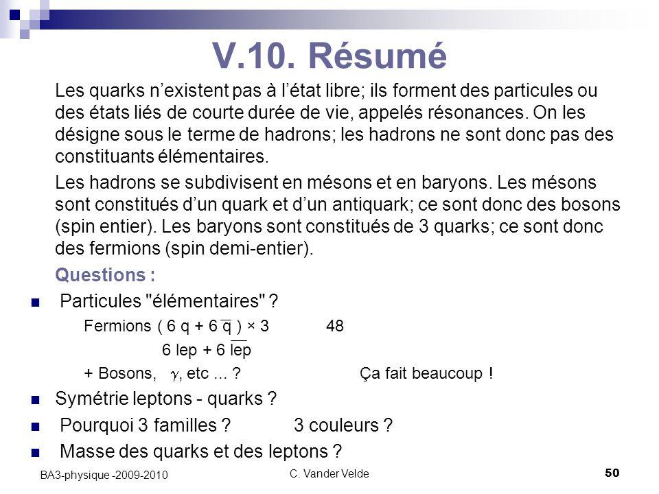 C. Vander Velde50 BA3-physique -2009-2010 V.10. Résumé Les quarks n'existent pas à l'état libre; ils forment des particules ou des états liés de court