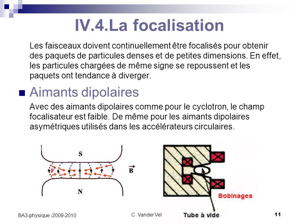 C. Vander Velde11 BA3-physique -2009-2010 IV.4.La focalisation Les faisceaux doivent continuellement être focalisés pour obtenir des paquets de partic