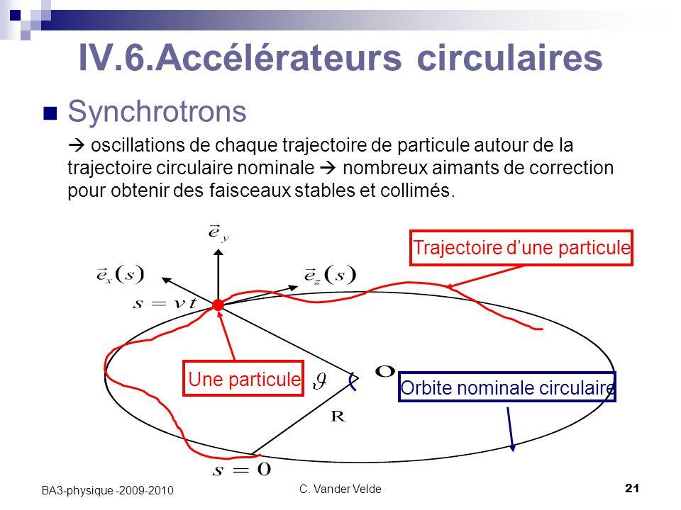 C. Vander Velde21 BA3-physique -2009-2010 Trajectoire d'une particule Orbite nominale circulaire Une particule IV.6.Accélérateurs circulaires Synchrot