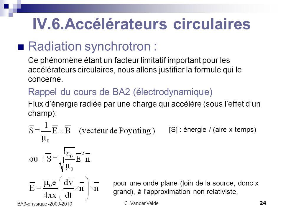 C. Vander Velde24 BA3-physique -2009-2010 IV.6.Accélérateurs circulaires Radiation synchrotron : Ce phénomène étant un facteur limitatif important pou