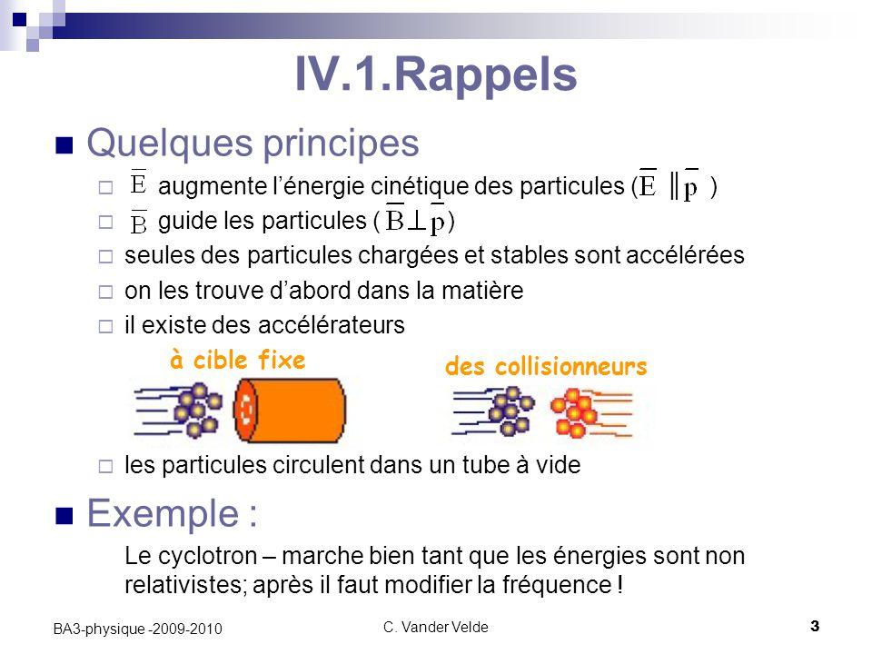 C. Vander Velde3 BA3-physique -2009-2010 Quelques principes  augmente l'énergie cinétique des particules ( ║ )  guide les particules ( )  seules de