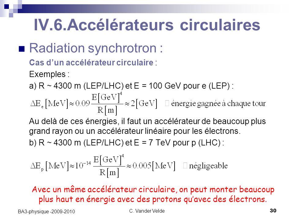 C. Vander Velde30 BA3-physique -2009-2010 IV.6.Accélérateurs circulaires Radiation synchrotron : Cas d'un accélérateur circulaire : Exemples : a) R ~