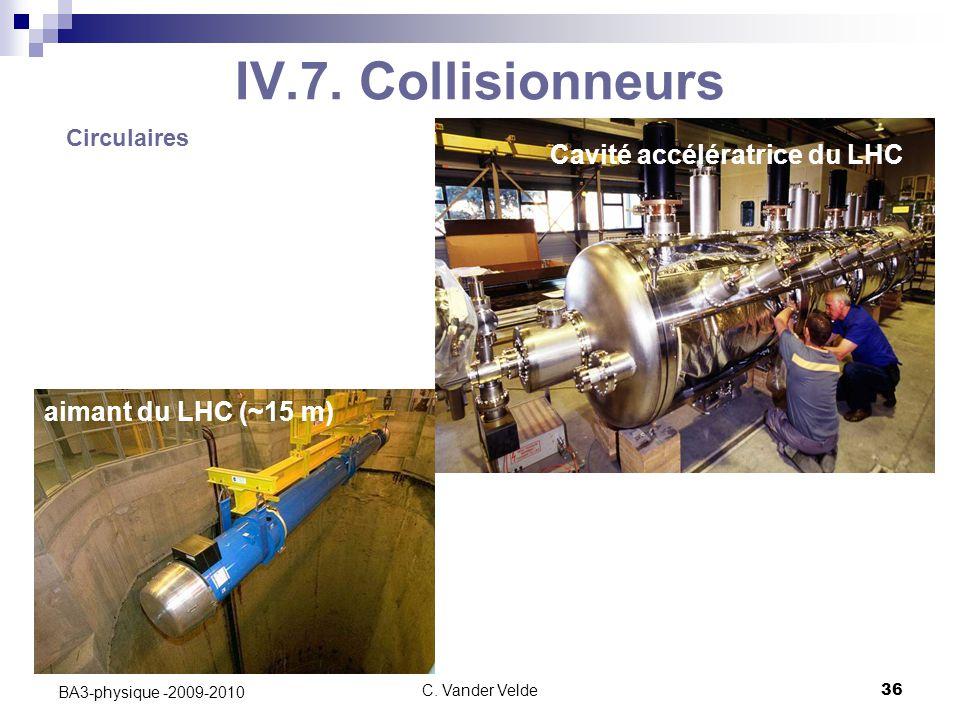 C. Vander Velde36 BA3-physique -2009-2010 IV.7. Collisionneurs Cavité accélératrice du LHC Circulaires aimant du LHC (~15 m)