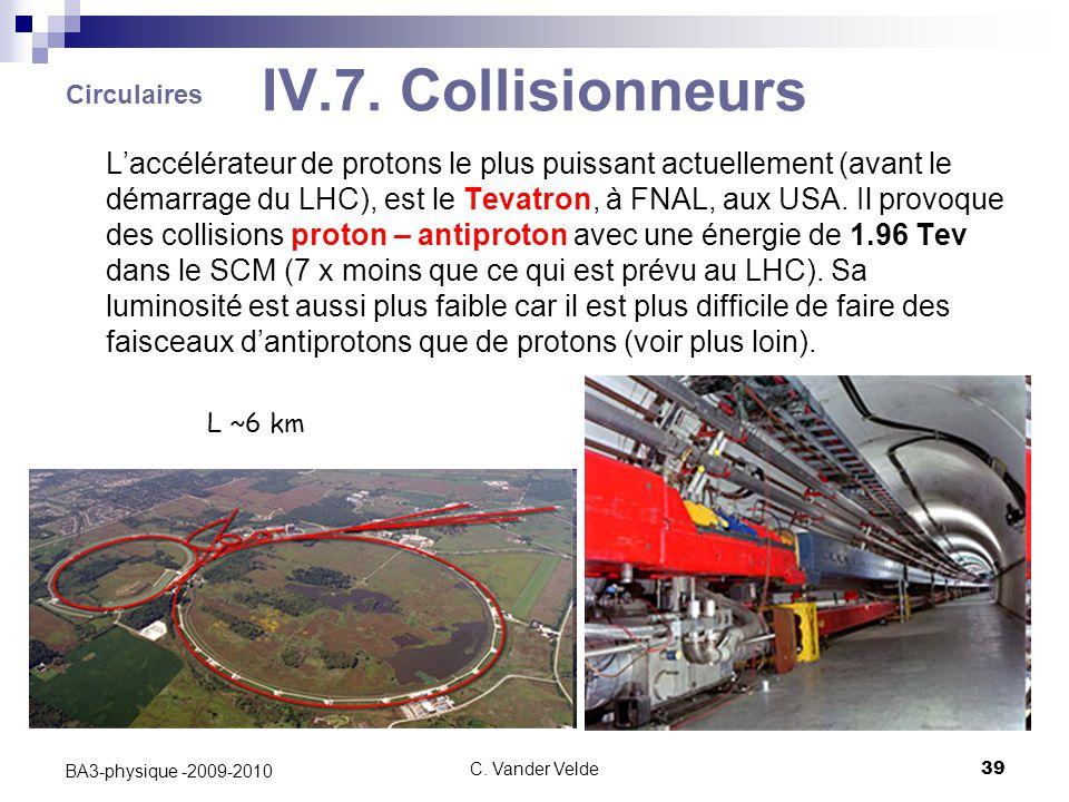 C. Vander Velde39 BA3-physique -2009-2010 IV.7. Collisionneurs L'accélérateur de protons le plus puissant actuellement (avant le démarrage du LHC), es