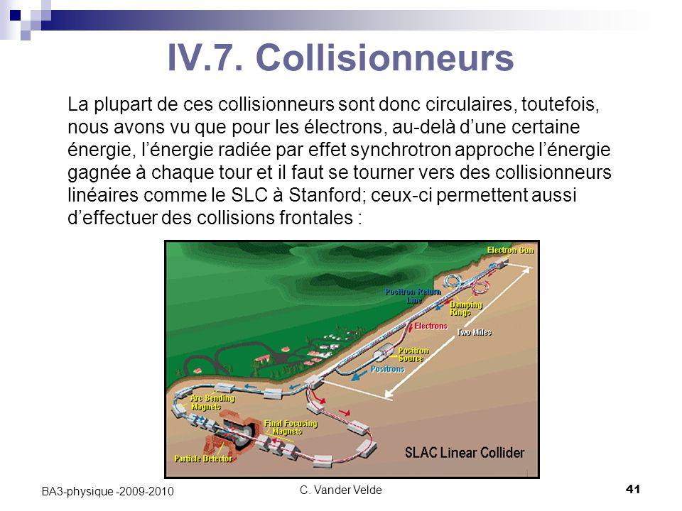 C. Vander Velde41 BA3-physique -2009-2010 IV.7. Collisionneurs La plupart de ces collisionneurs sont donc circulaires, toutefois, nous avons vu que po
