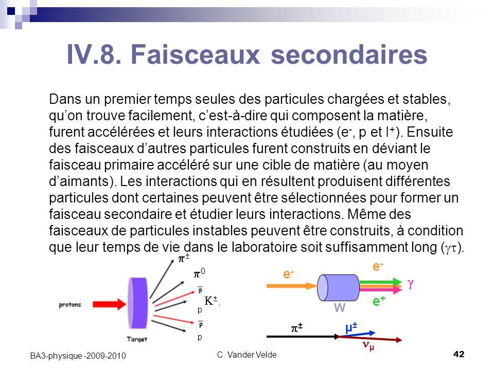 C. Vander Velde42 BA3-physique -2009-2010 Dans un premier temps seules des particules chargées et stables, qu'on trouve facilement, c'est-à-dire qui c