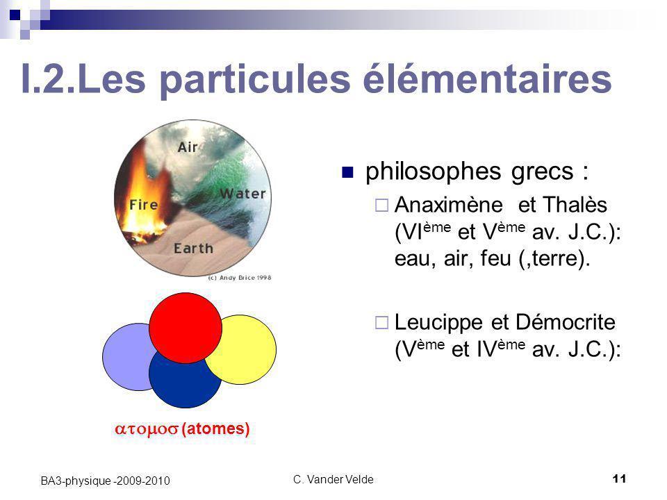 C. Vander Velde11 BA3-physique -2009-2010 I.2.Les particules élémentaires philosophes grecs :  Anaximène et Thalès (VI ème et V ème av. J.C.): eau, a