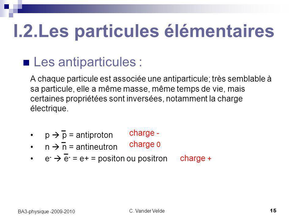 C. Vander Velde15 BA3-physique -2009-2010 I.2.Les particules élémentaires Les antiparticules : A chaque particule est associée une antiparticule; très