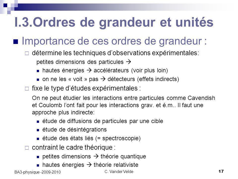 C. Vander Velde17 BA3-physique -2009-2010 I.3.Ordres de grandeur et unités Importance de ces ordres de grandeur :  détermine les techniques d'observa
