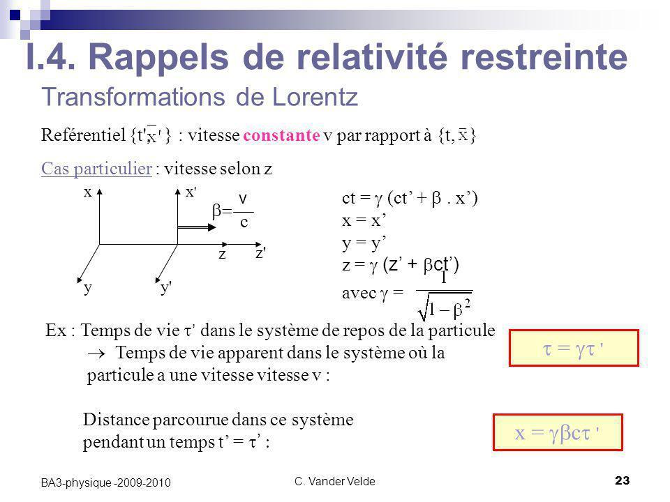 C. Vander Velde23 BA3-physique -2009-2010 Transformations de Lorentz Reférentiel {t', } : vitesse constante v par rapport à {t, } Cas particulier : vi