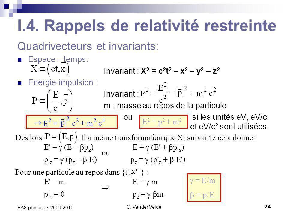 C. Vander Velde24 BA3-physique -2009-2010  = E/m  = p/E I.4. Rappels de relativité restreinte Quadrivecteurs et invariants: Espace – temps: Invaria