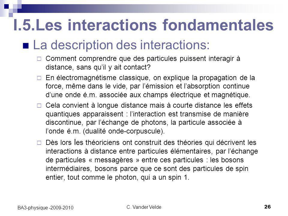 C. Vander Velde26 BA3-physique -2009-2010 I.5.Les interactions fondamentales La description des interactions:  Comment comprendre que des particules