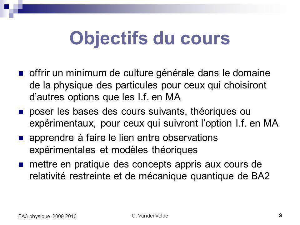 C. Vander Velde3 BA3-physique -2009-2010 Objectifs du cours offrir un minimum de culture générale dans le domaine de la physique des particules pour c