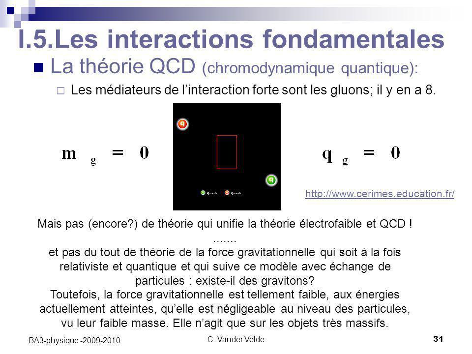 C. Vander Velde31 BA3-physique -2009-2010 La théorie QCD (chromodynamique quantique):  Les médiateurs de l'interaction forte sont les gluons; il y en