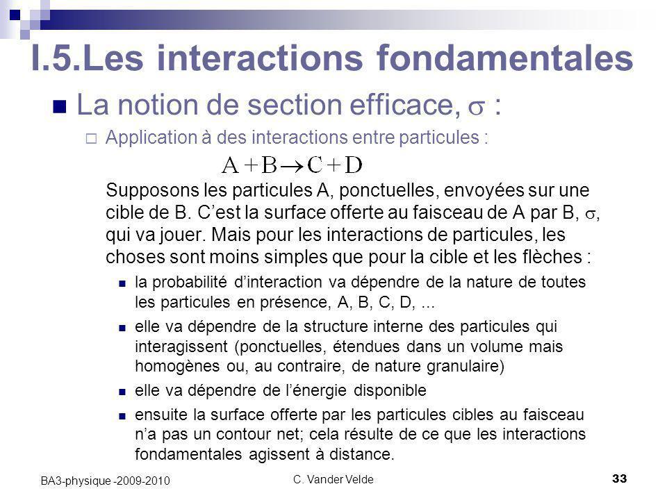 C. Vander Velde33 BA3-physique -2009-2010 I.5.Les interactions fondamentales La notion de section efficace,  :  Application à des interactions entre
