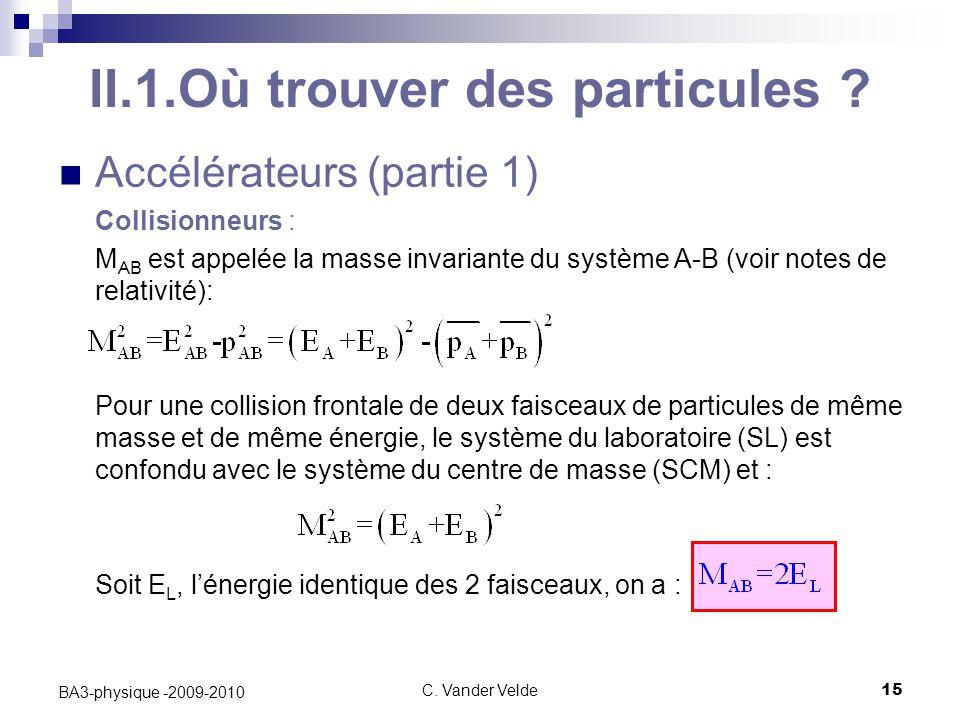 C. Vander Velde15 BA3-physique -2009-2010 Accélérateurs (partie 1) Collisionneurs : M AB est appelée la masse invariante du système A-B (voir notes de